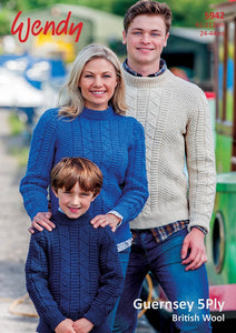 Wendy Pattern 5942: Sweater in Guernsey 5 Ply
