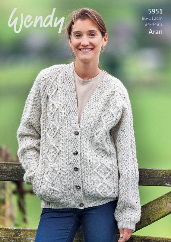 Wendy Pattern 5951: Cardigan in Aran with Wool