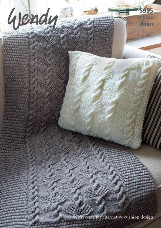 Wendy Pattern 5955: Throw & Cushion in Aran with Wool