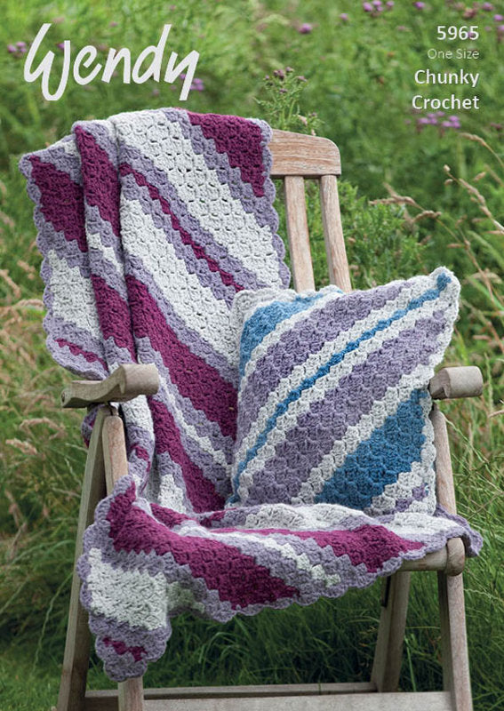 Wendy Crochet Pattern 5965: Throw & Cushion in Serenity Chunky