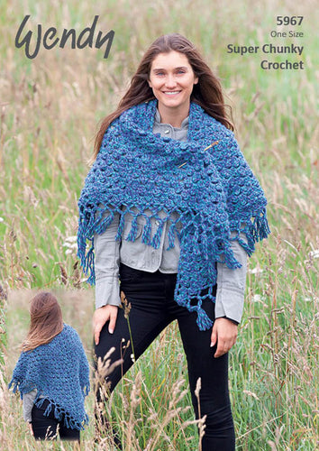 Wendy Crochet Pattern 5967: Shawl in Serenity Super Chunky