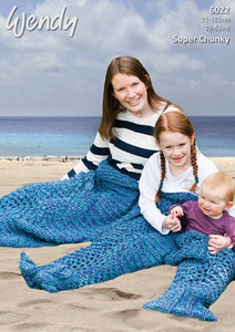 Wendy Pattern 6022:  Mermaid Tail in Serenity Super Chunky