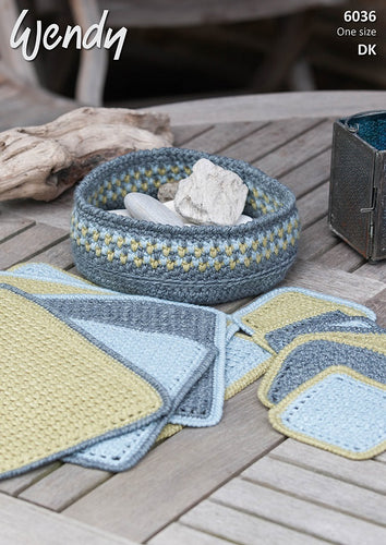 Wendy Crochet Pattern 6036: Table Mats, Coasters, Bowl in Pixile