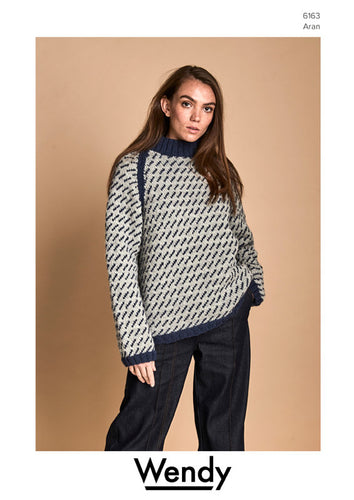 Wendy Pattern 6163: Unisex Fair Isle Sweater in Pure Wool Aran