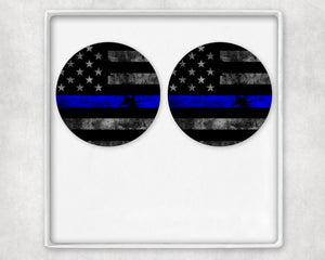 Thin Blue Line Flag Earring