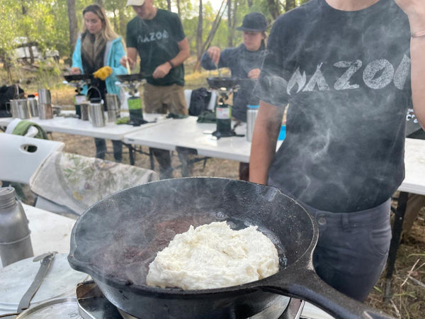 Cooking fry bread in the woods