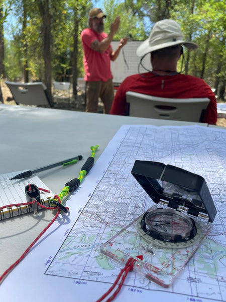 Map and compass orienteering training at GB2 Wilderness Skills Course