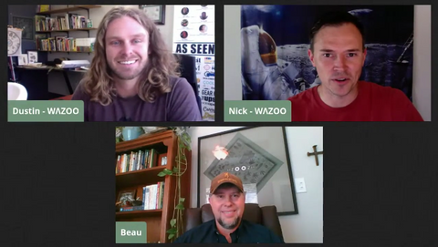 Dustin and Nick from Wazoo Survival Gear talk to Beau Harger about wildlife tracking