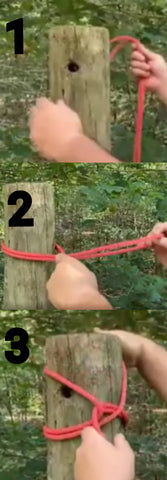 Craig Coudill shows the steps for tying a pile hitch