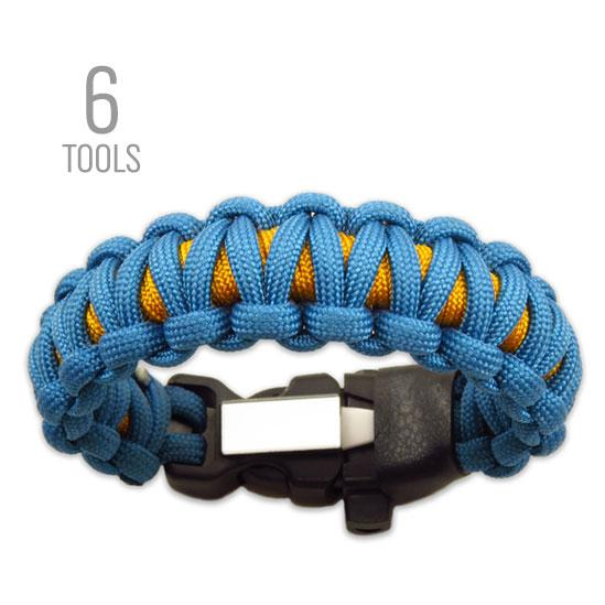 Base Paracord bracelet with Firestorm fire starter, whistle, and knife buckle