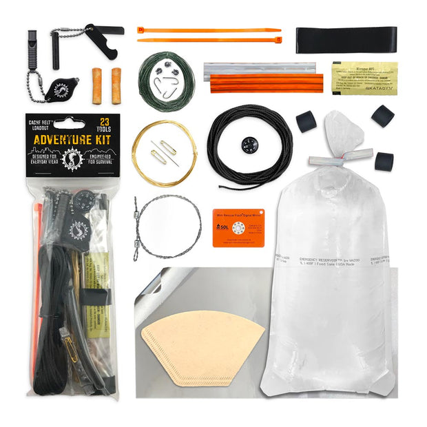 Adventure Survival Kit with individual components broken out