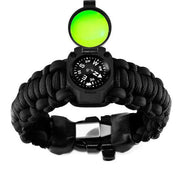 Adventure survival kit paracord bracelet in black with black surgical tubing