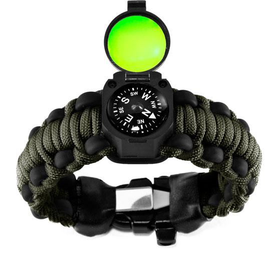 Adventure Bracelet with OD Paracord and glow compass