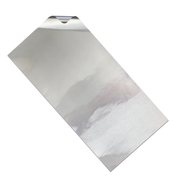 Unrolled 6x12 inch piece of industrial aluminum foil for survival kits