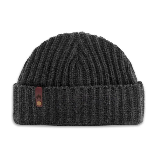 Cache Beanie winter hat with pocket laid flat on white background