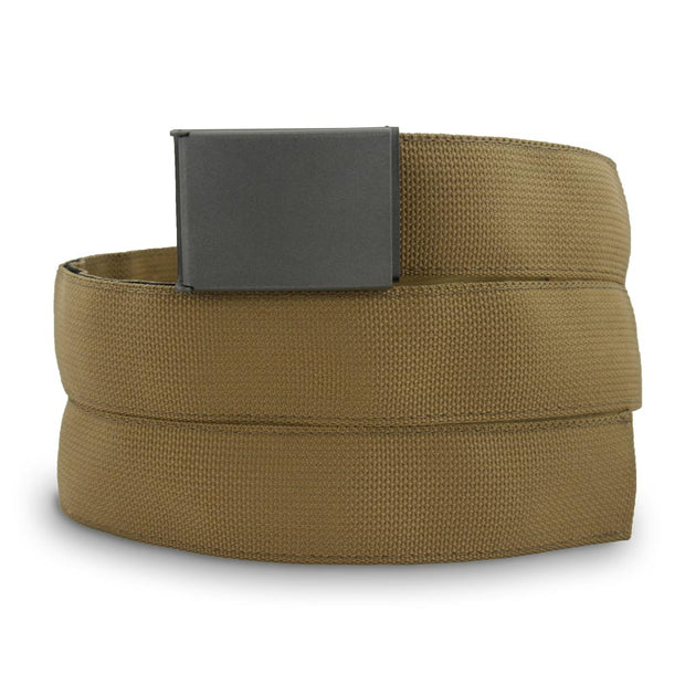 Coyote belt and gray cerakote buckle with hidden velcro pocket used to store money and tools