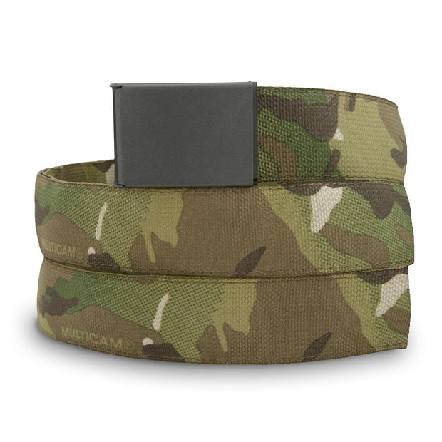 Multicam camouflage belt with grey cerakoted buckle and hidden pocket used to hide and stash items