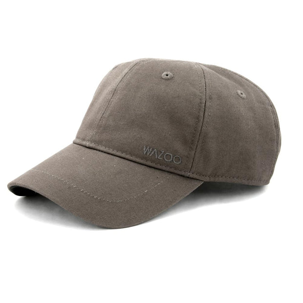 gray chino twill dad hat with hidden pockets in the bill and interior of the cap