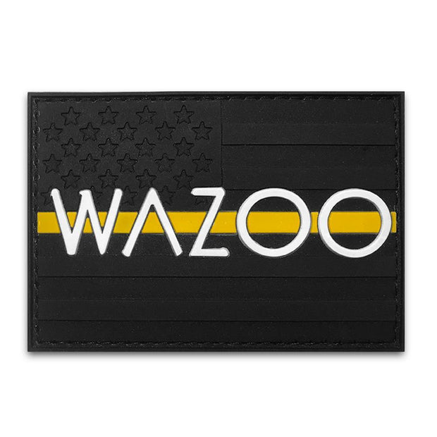 moral style patch with blacked out american flag and wazoo logo across the front