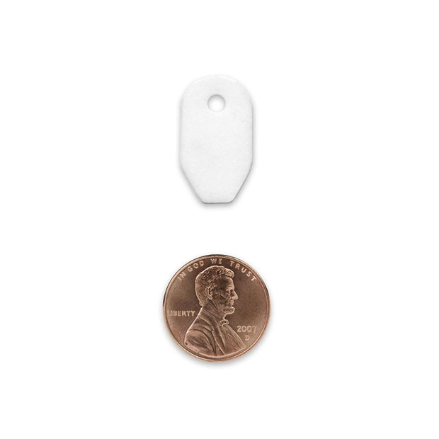 white ceramic striker with hole for paracord or other cordage shown in comparison to the size of the penny that is similar size