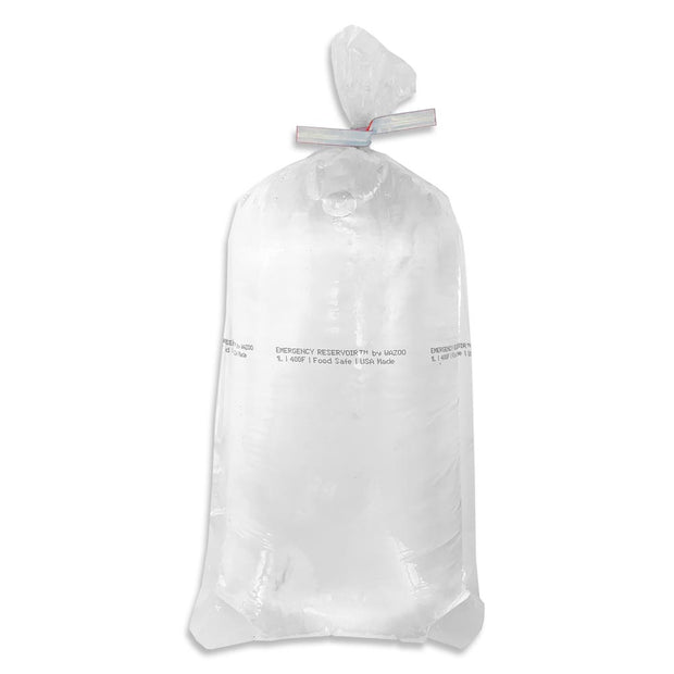 Smallest emergency hydration water bag for survival kits shown with 1 liter of water inside