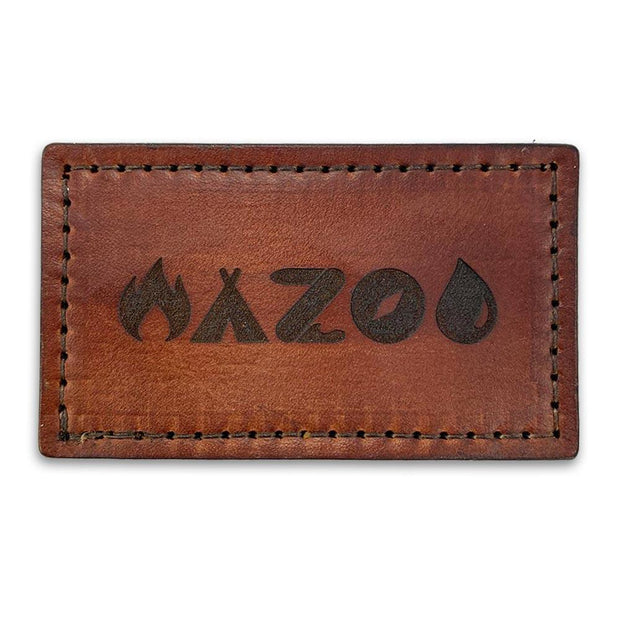 Leather morale patch with Wazoo logo made in the USA