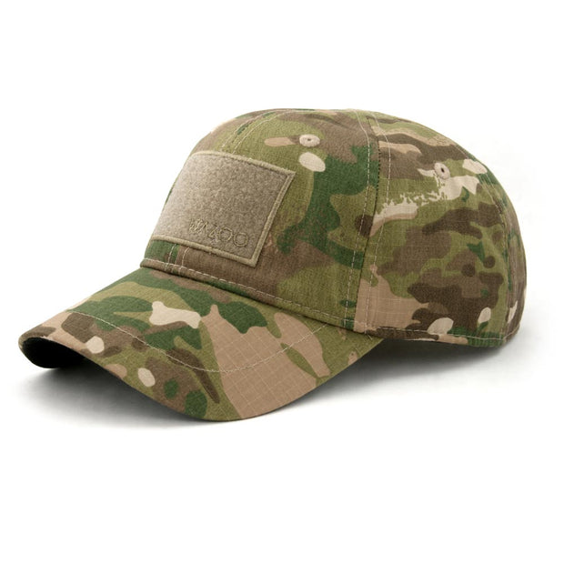 Baseball hat in Camo similar to multicam with hidden pockets inside and under the bill