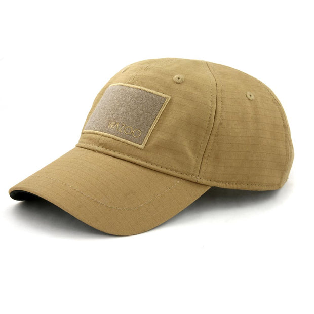 Coyote Brown Cache Cap with six hidden pockets in bill and inside hat
