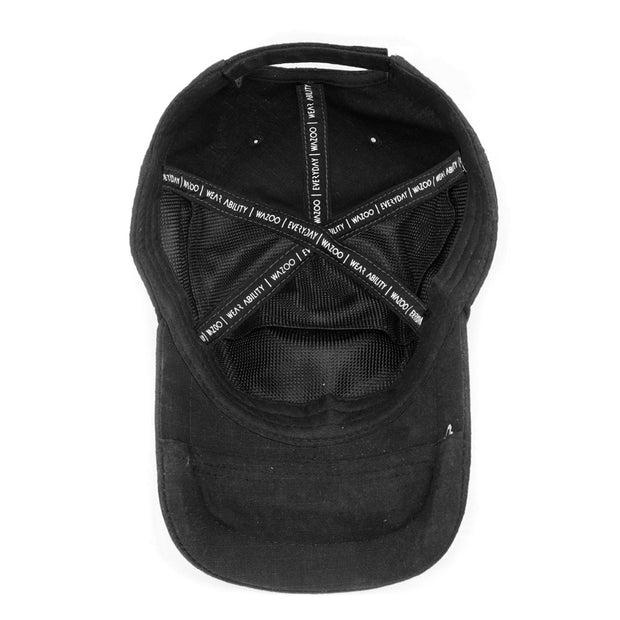 Inside of baseball hat showing 3 pockets on bill and 3 pockets inside crown of cap