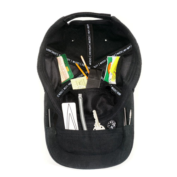 Baseball hat with tool stored inside secret hidden pockets