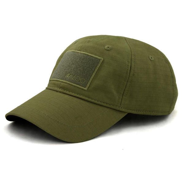 Olive green color cache cap with six hidden pockets to conceal your gear