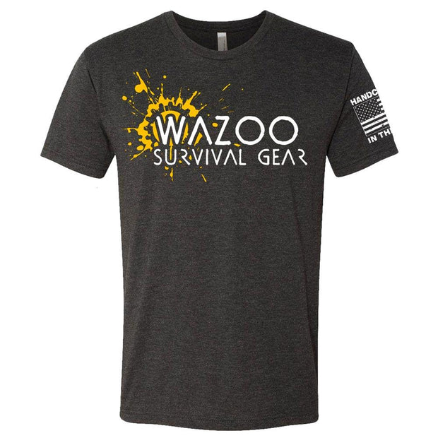 wazoo splatter t-shirt with american flag on the sleeve