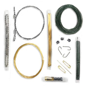 Micro survival kit waterproof tubes with fishing and repair gear, snare wire, and wire saw