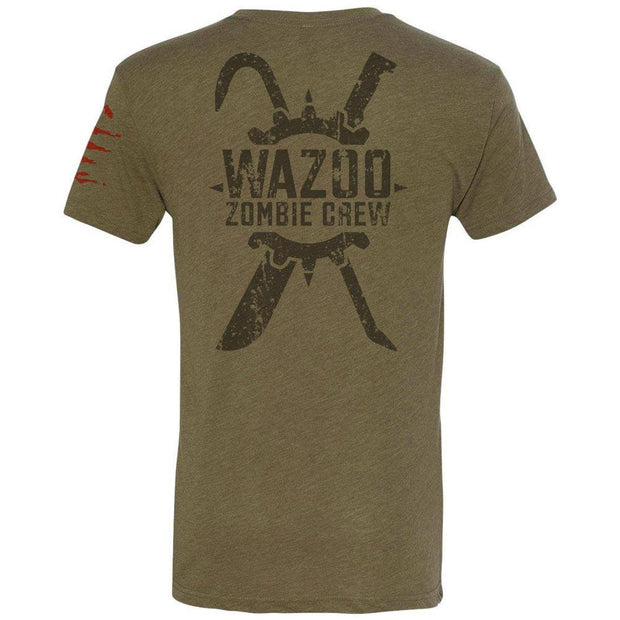 back of green wazoo zombie crew t-shirt with logo