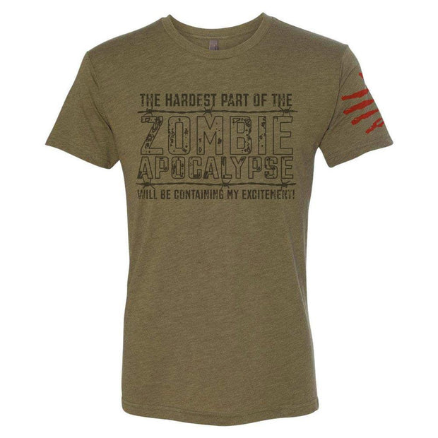 army green wazoo zombie crew tri-blend t-shirt with hand print blood stain on sleeve