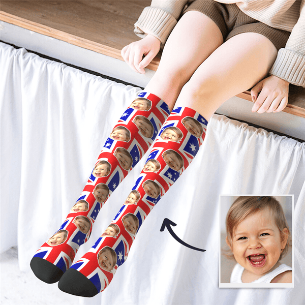 Custom Photo Knee High AU Flag Socks - MyPhotoSocks