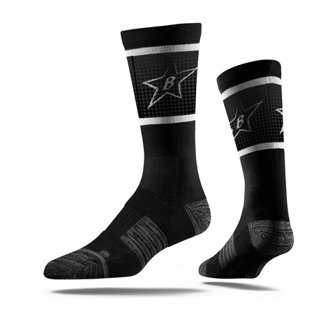 Black Big Star Crew Socks-Boxstar Apparel