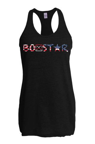 Ladies American Flag Logo Tank-Boxstar Apparel