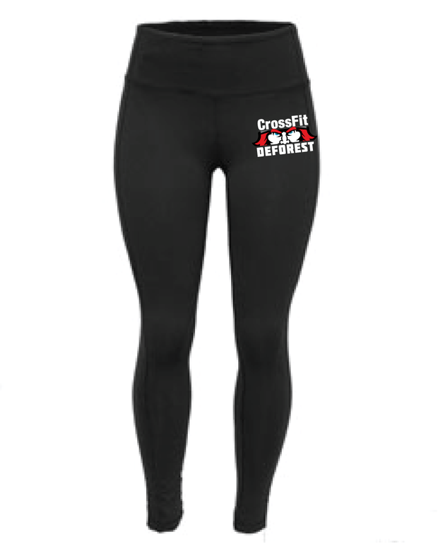 CrossFit Deforest Ladies Full Length Black Tights-Boxstar Apparel