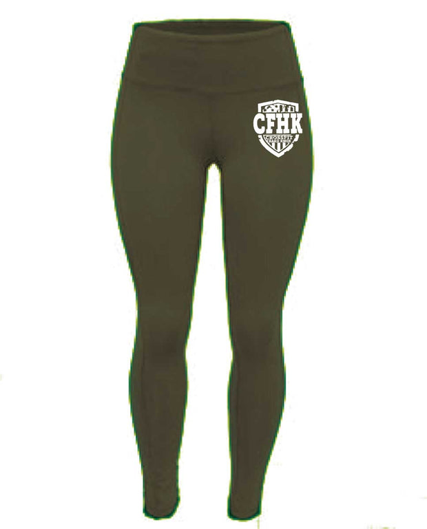 CrossFit Hard Knox High Waist Full Length Army Green Tights-Boxstar Apparel