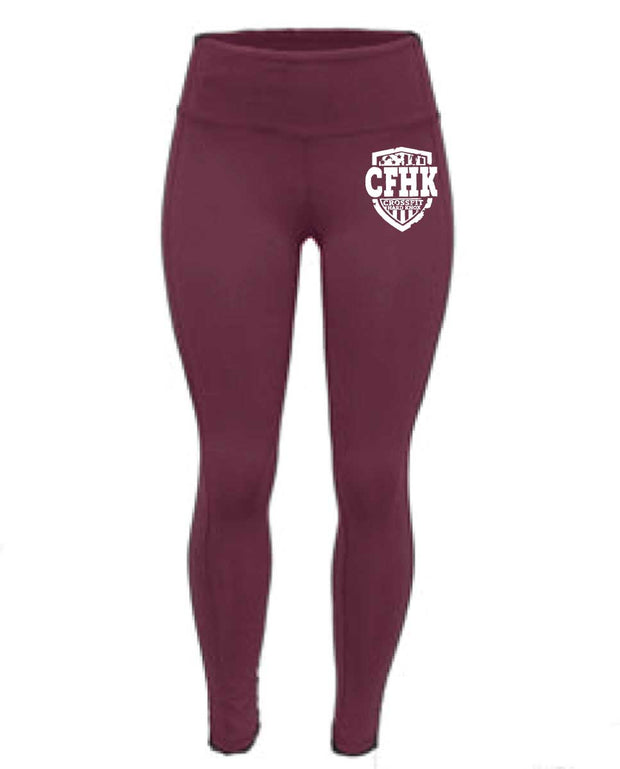 CrossFit Hard Knox High Waist Full Length Maroon Tights-Boxstar Apparel