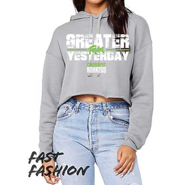Ladies CrossFit Rohkeus Greater Than Yesterday Crop Hoodie (pre-order)-Boxstar Apparel