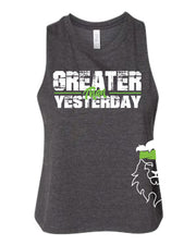 Ladies CrossFit Rohkeus Greater Than Yesterday Racerback Crop Tank (pre-order)-Boxstar Apparel