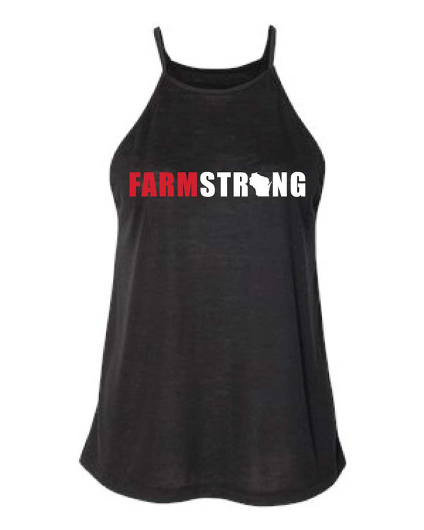 Farmland Fitness Farm Strong Ladies Flowy High Neck Tank-Boxstar Apparel