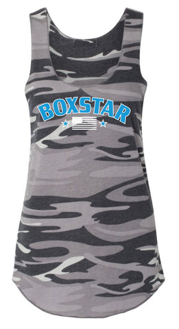 Ladies Black Camo Flag Tank-Boxstar Apparel