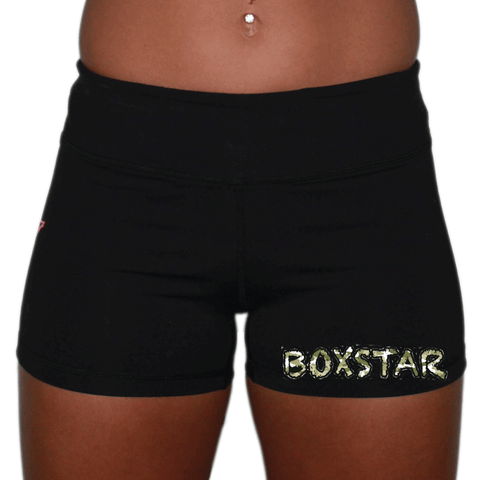 Ladies Booty Shorts - Camo-Boxstar Apparel