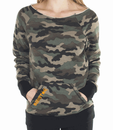 Ladies Bunker Camo Raglan-Boxstar Apparel