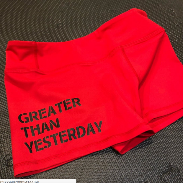 Ladies Greater Than Yesterday Shorts-Boxstar Apparel