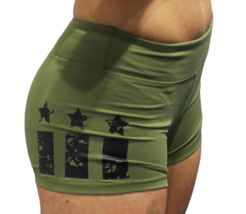 Ladies Patriot Shorts-Boxstar Apparel