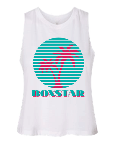 Ladies Miami Vibes Racerback Crop Tank-Boxstar Apparel